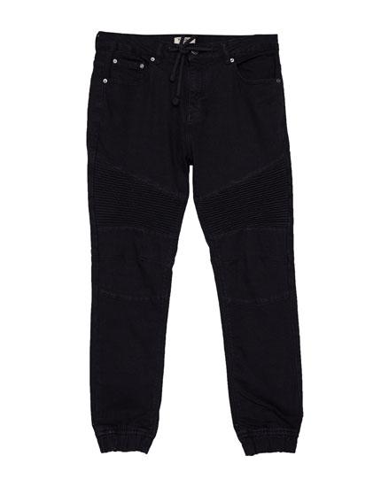 Black biker jeans