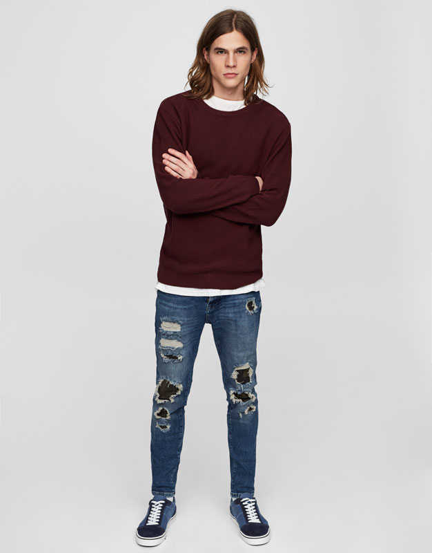 Camouflage carrot fit ripped jeans
