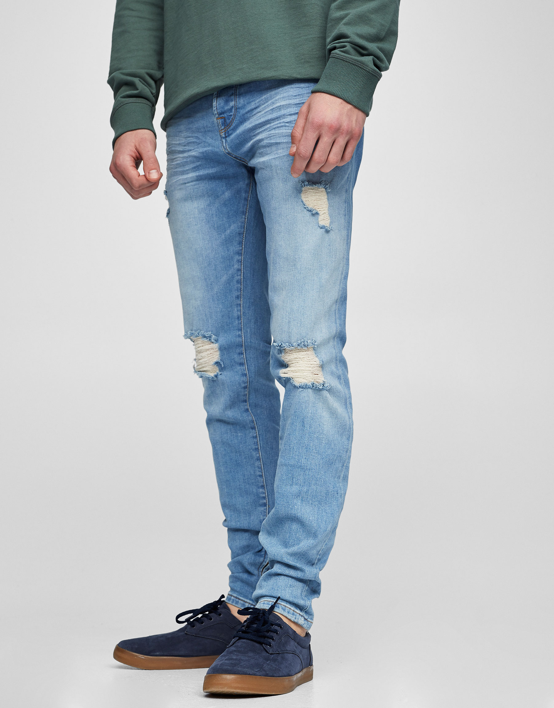 Light blue skinny fit ripped jeans