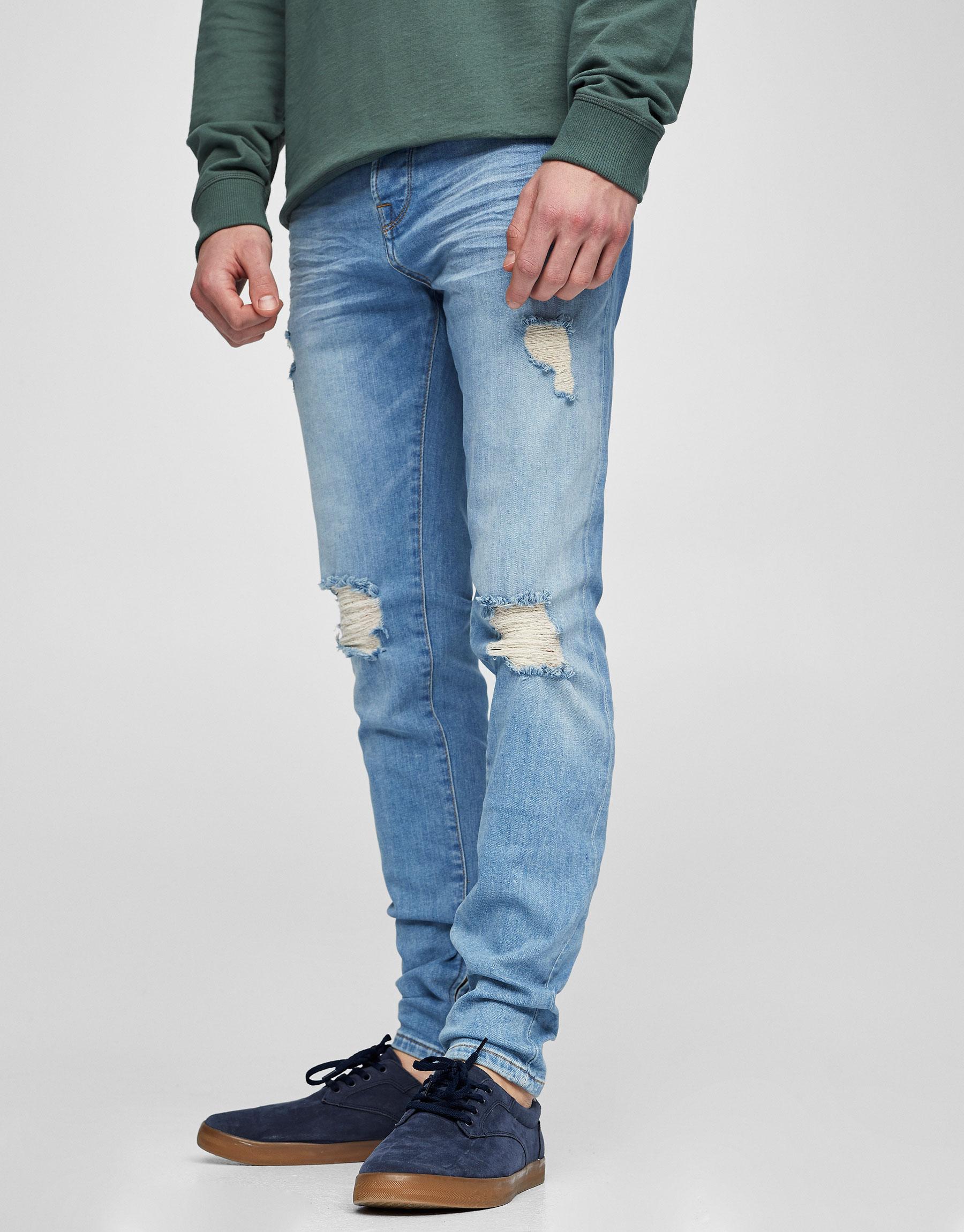 Jeans skinny fit rotos azul claro