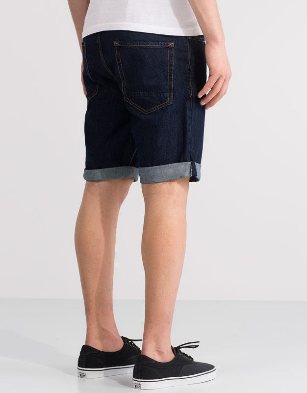 Dark wash denim bermuda shorts