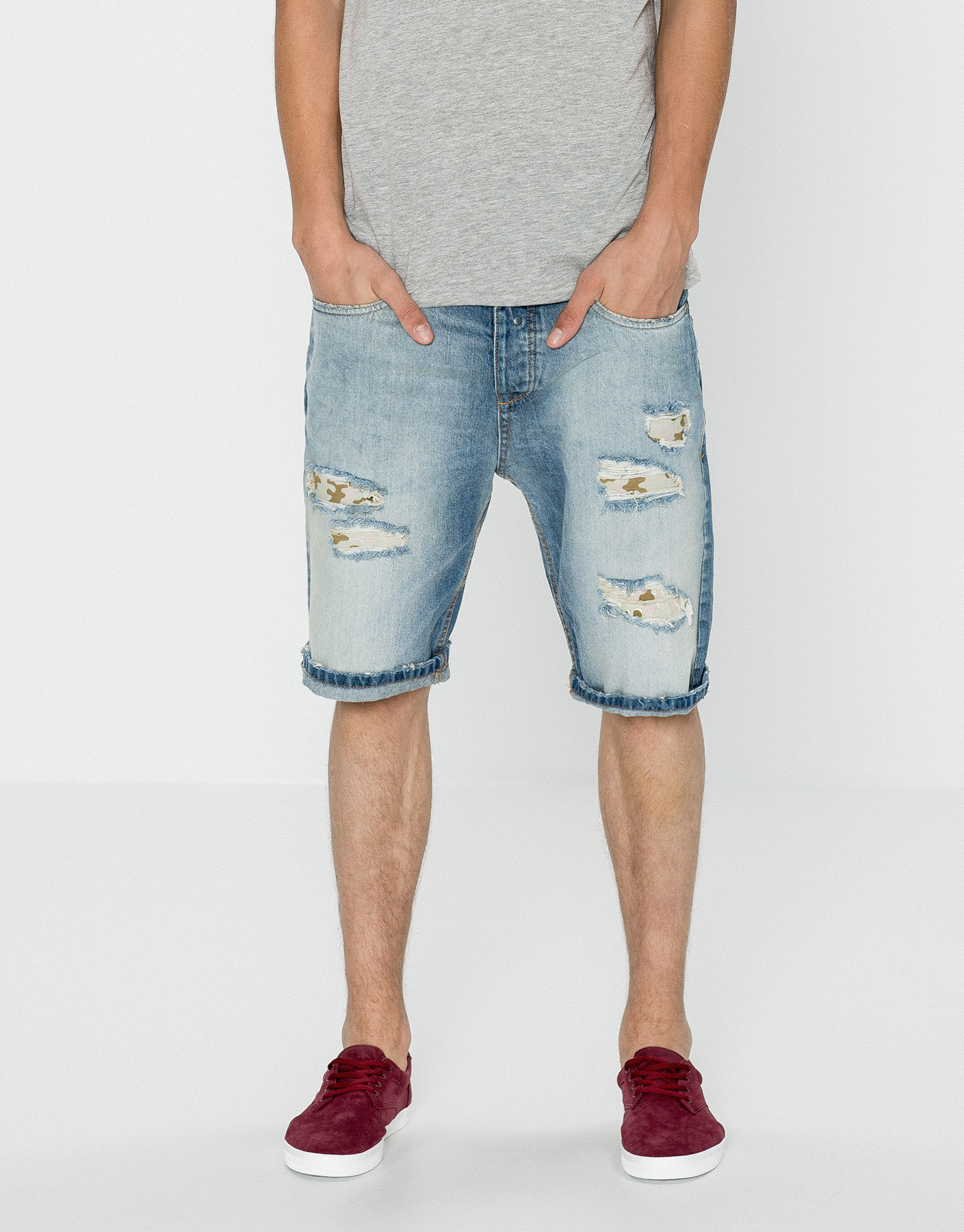 Denim bermuda shorts with camouflage interior