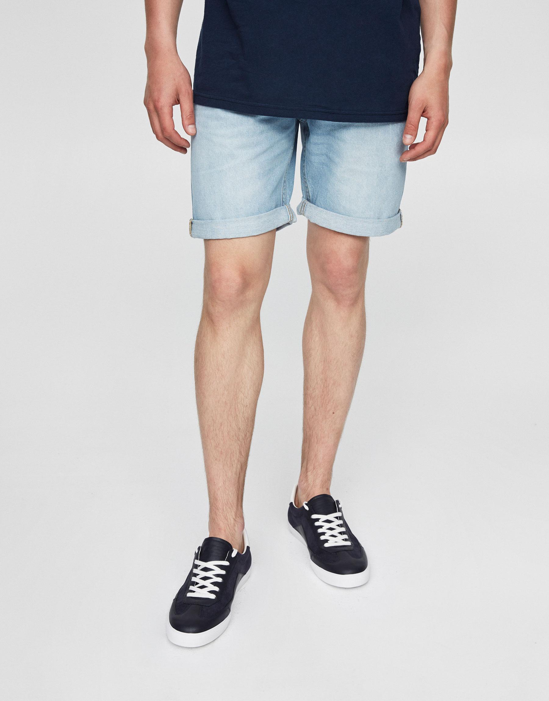 Bleached denim bermuda shorts