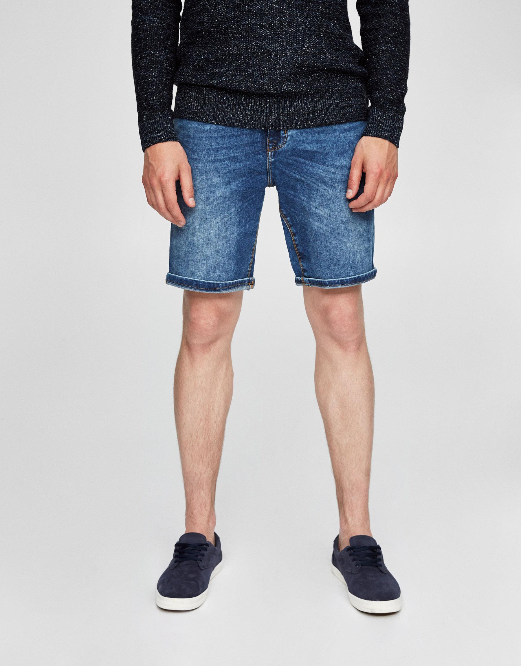 Faded blue denim Bermuda shorts