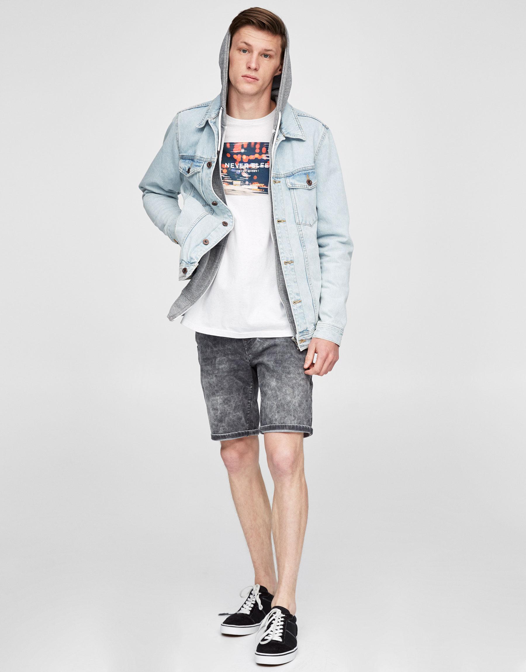 Grey faded denim Bermuda shorts