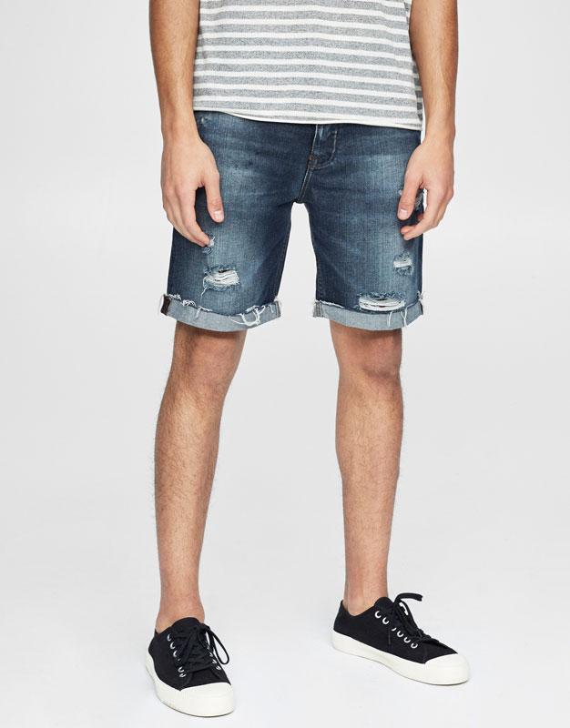 Ripped denim Bermuda shorts