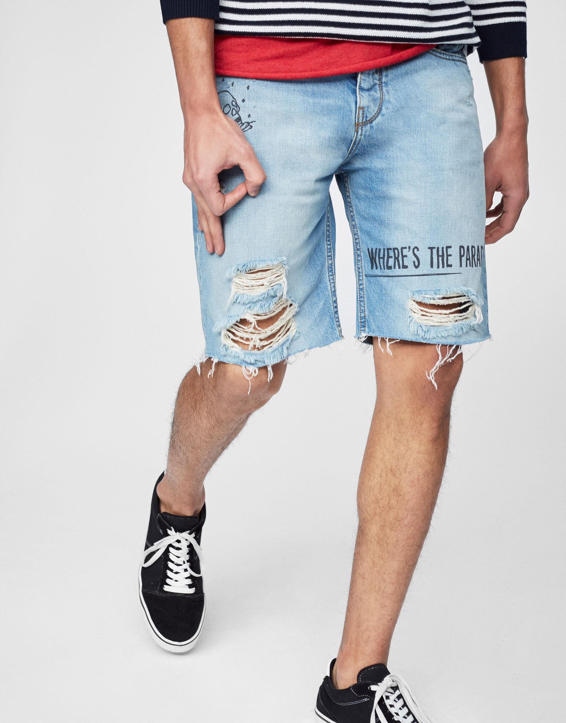 Denim Bermuda shorts with slogan print