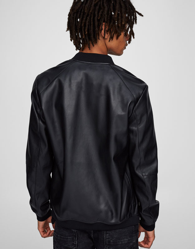 Bomber jacket with perforated sleeves