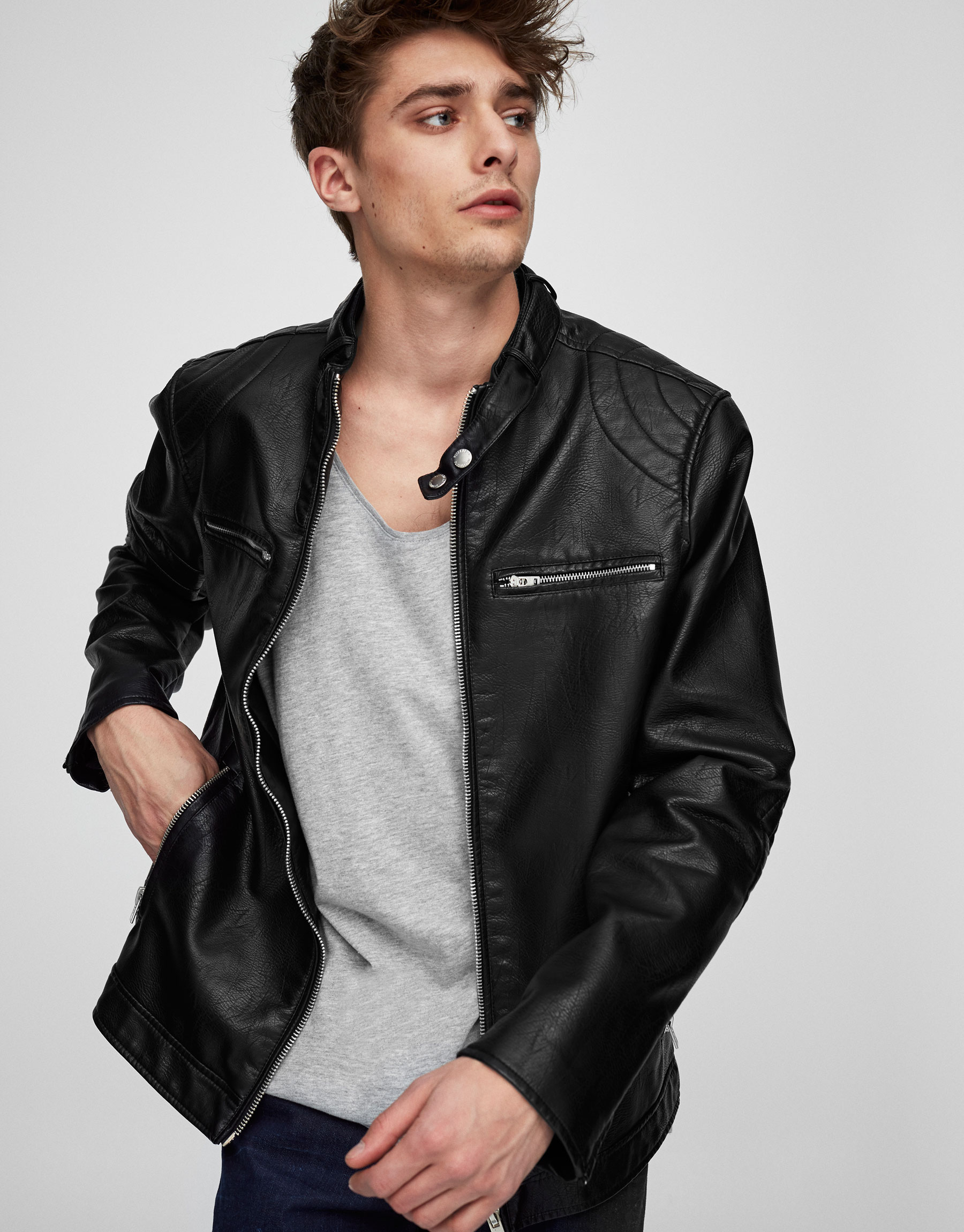Biker jacket with elbow patches detail