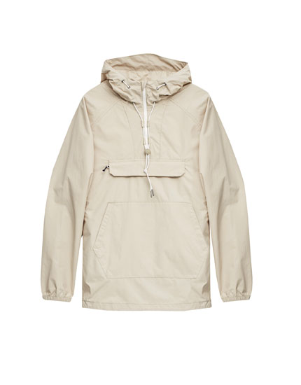 Pouch pocket hooded jacket with high collar