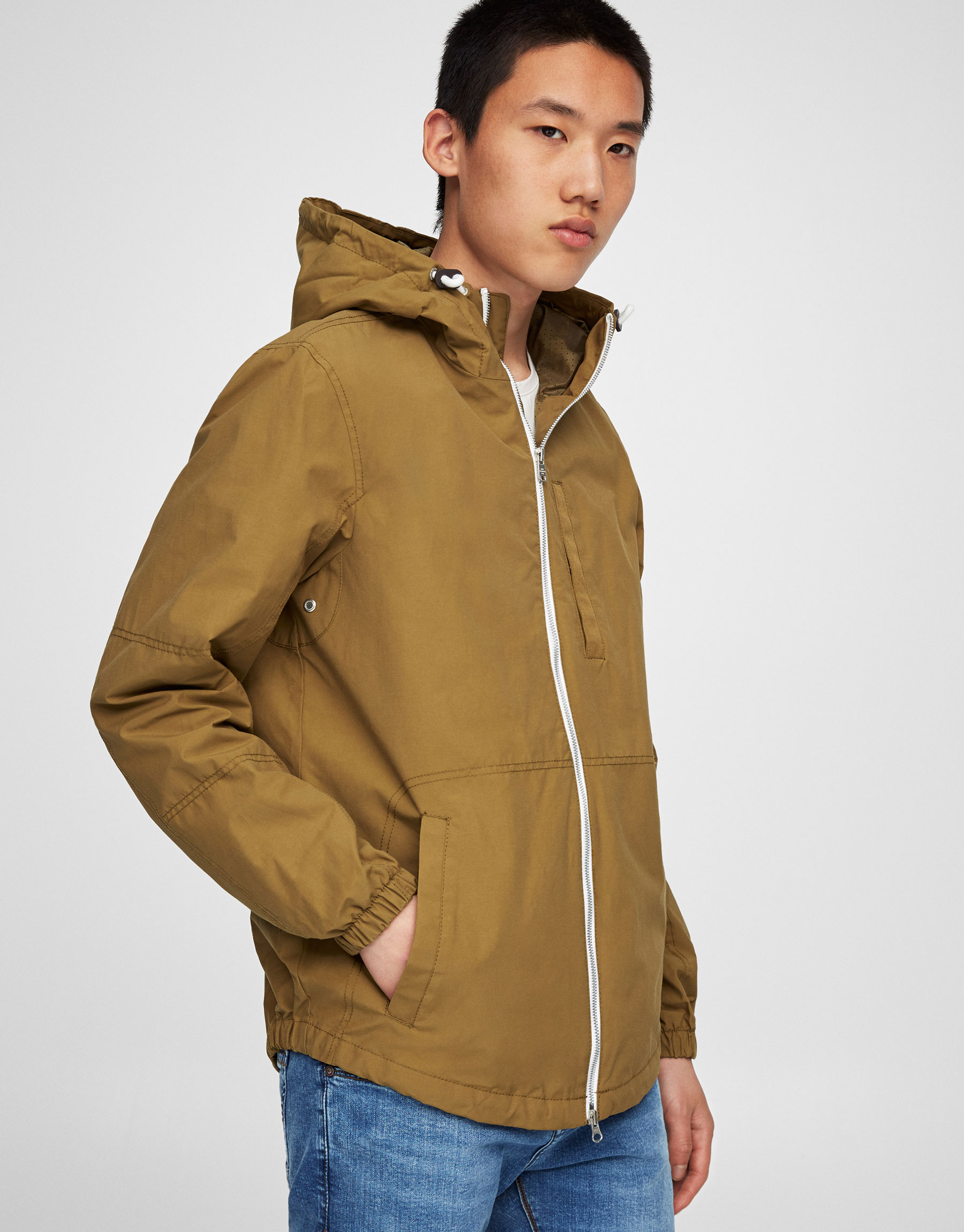 Colourful nylon jacket with hood