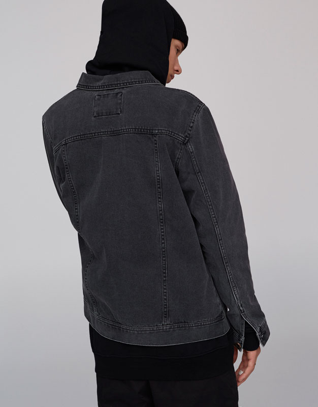 Basic faded black denim jacket