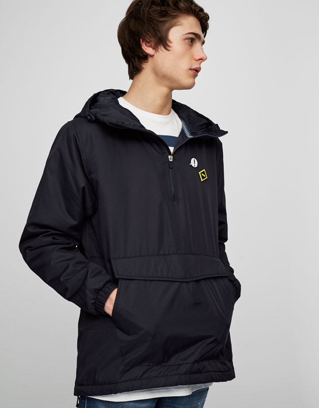 Quilted hoodie with pouch pocket