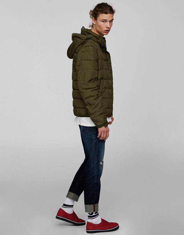 Down puffer coat with hood
