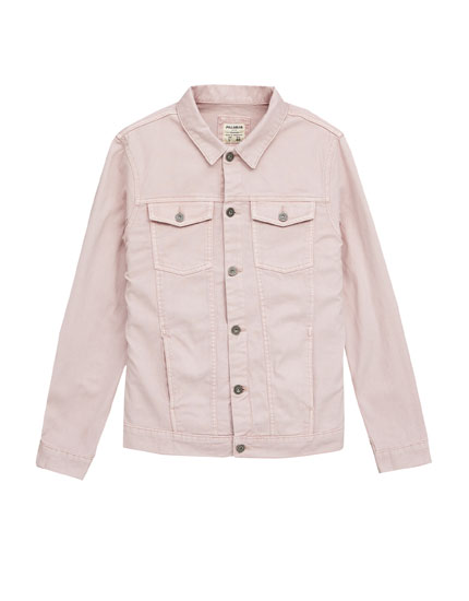 Pink denim jacket with print