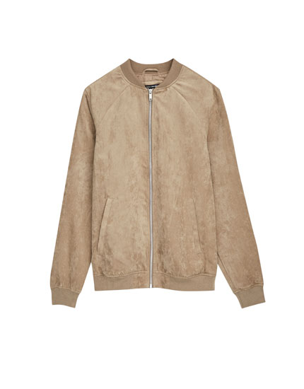 Faux suede bomber jacket with zip