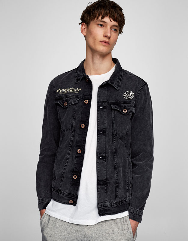 Black denim jacket with back print (Marc Márquez Collection)