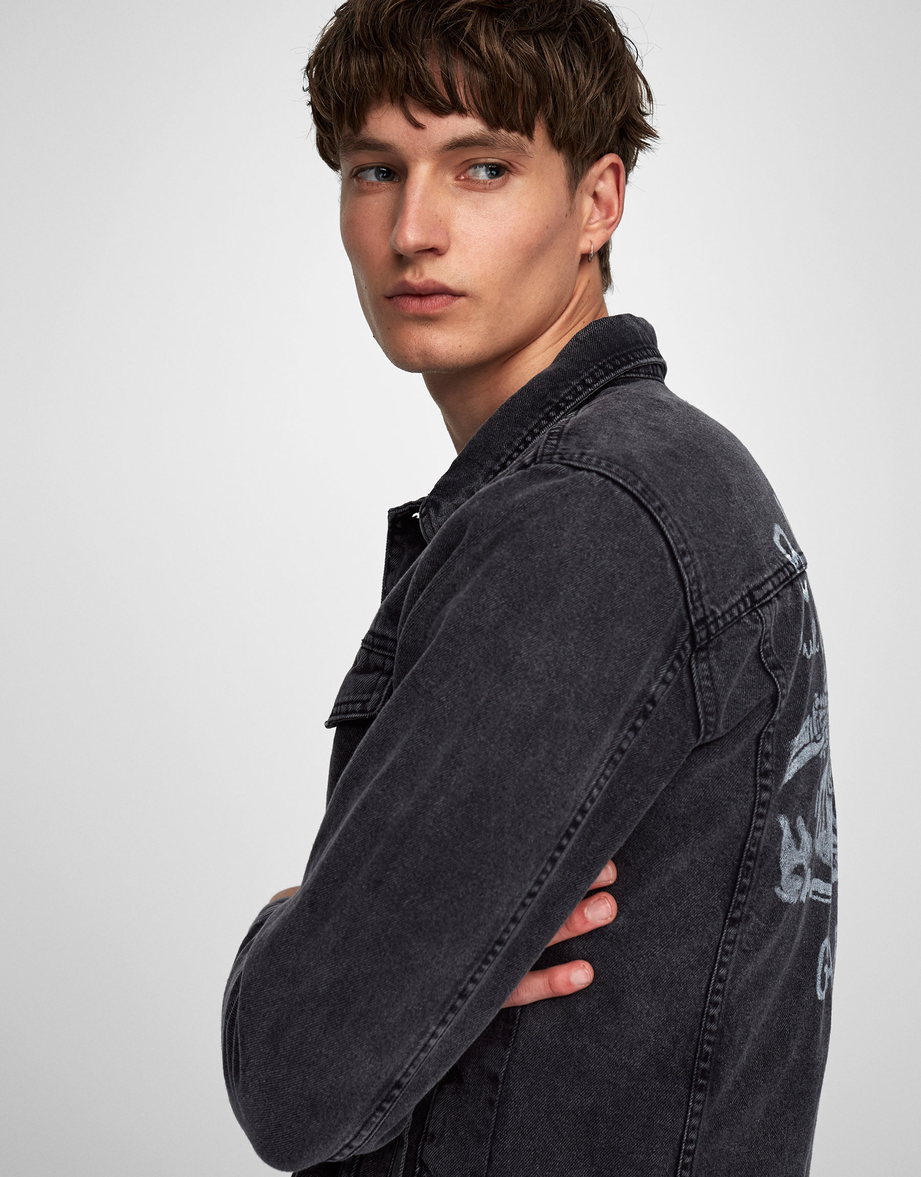Black denim jacket with back print (Marc Márquez Collection)
