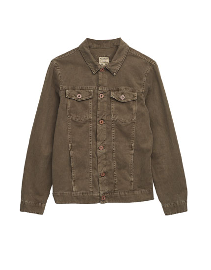 Khaki denim trucker jacket