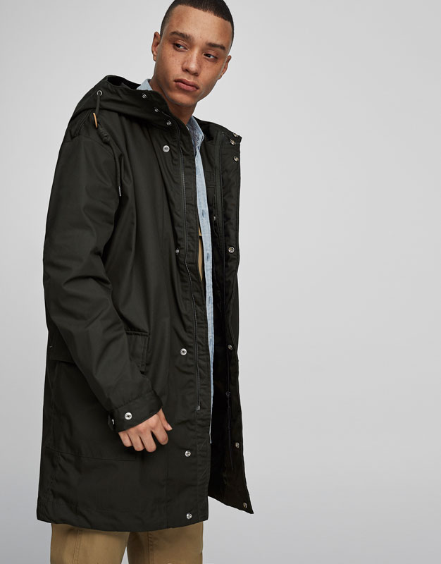 Oversized fit parka with hood