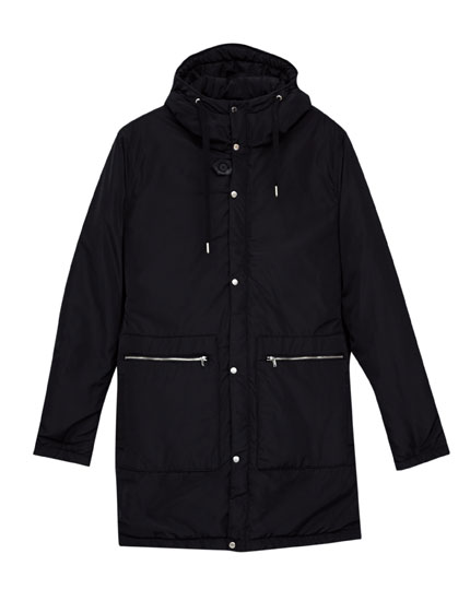 Black quilted hooded parka