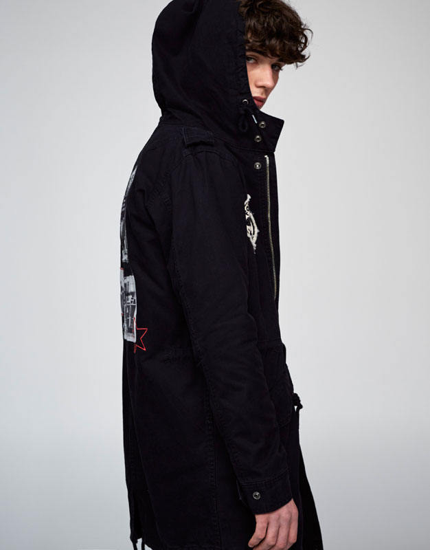 Military parka with patches and hood