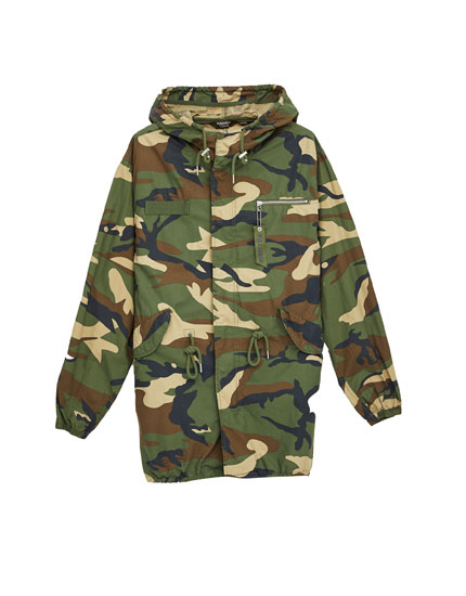 Lightweight camouflage parka with hood