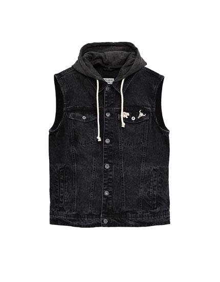 Hooded denim waistcoat
