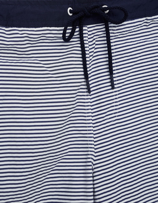 Swimsuit with blue stripes and elastic waist