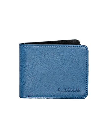 Blue wallet with black interior