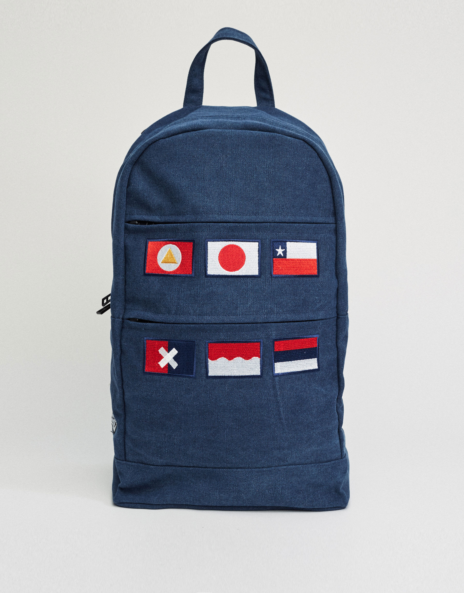 Backpack with patches on front