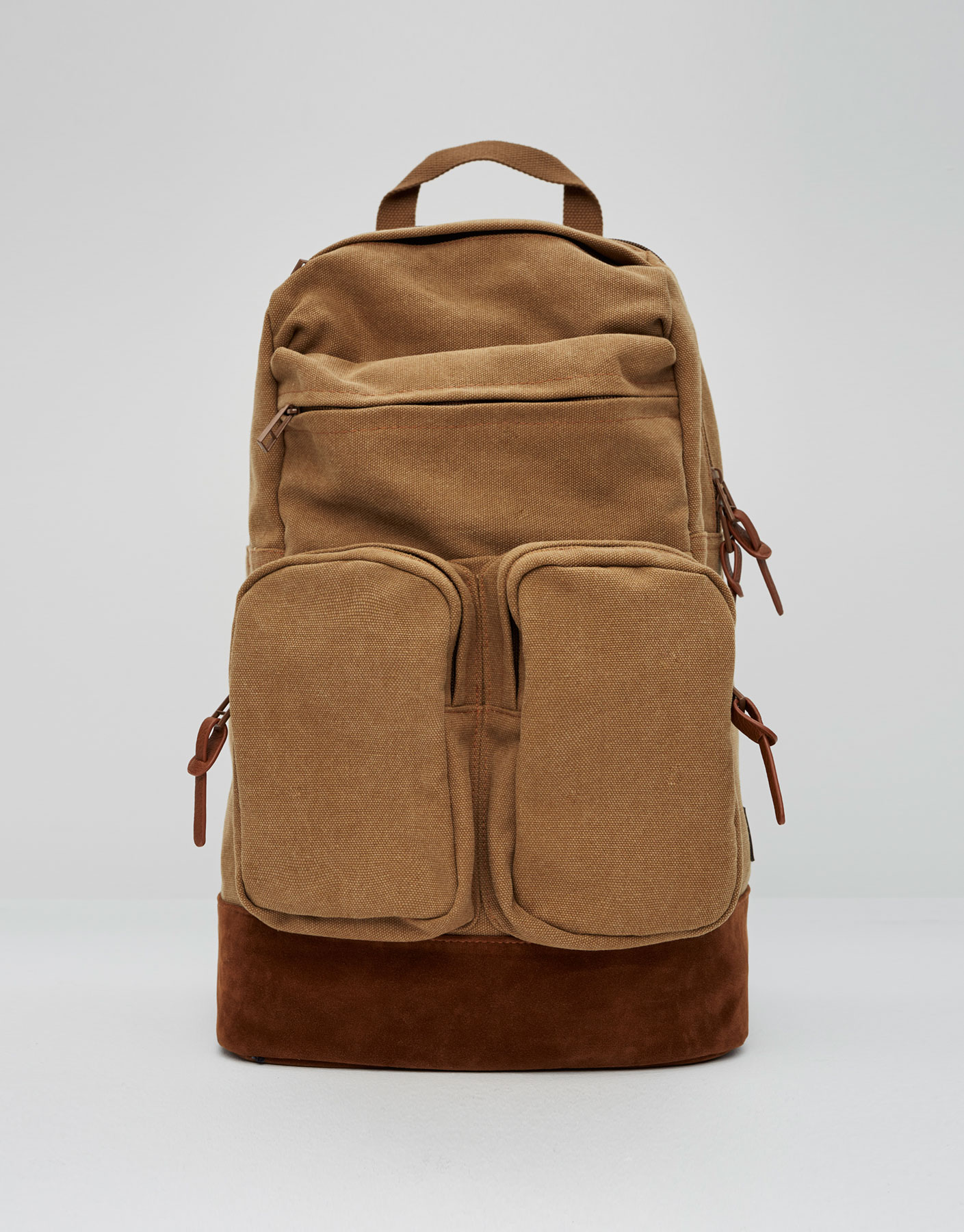 Military-style backpack with exterior pockets