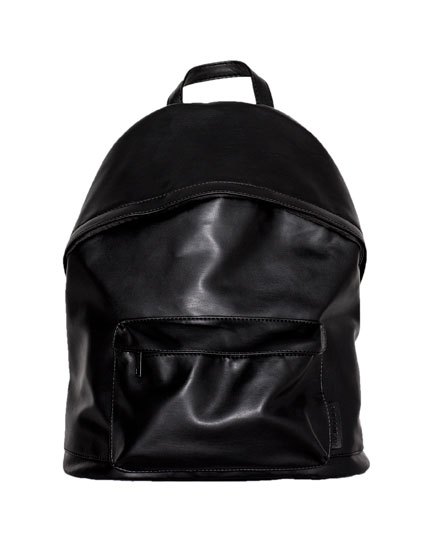 Black backpack with exterior compartment