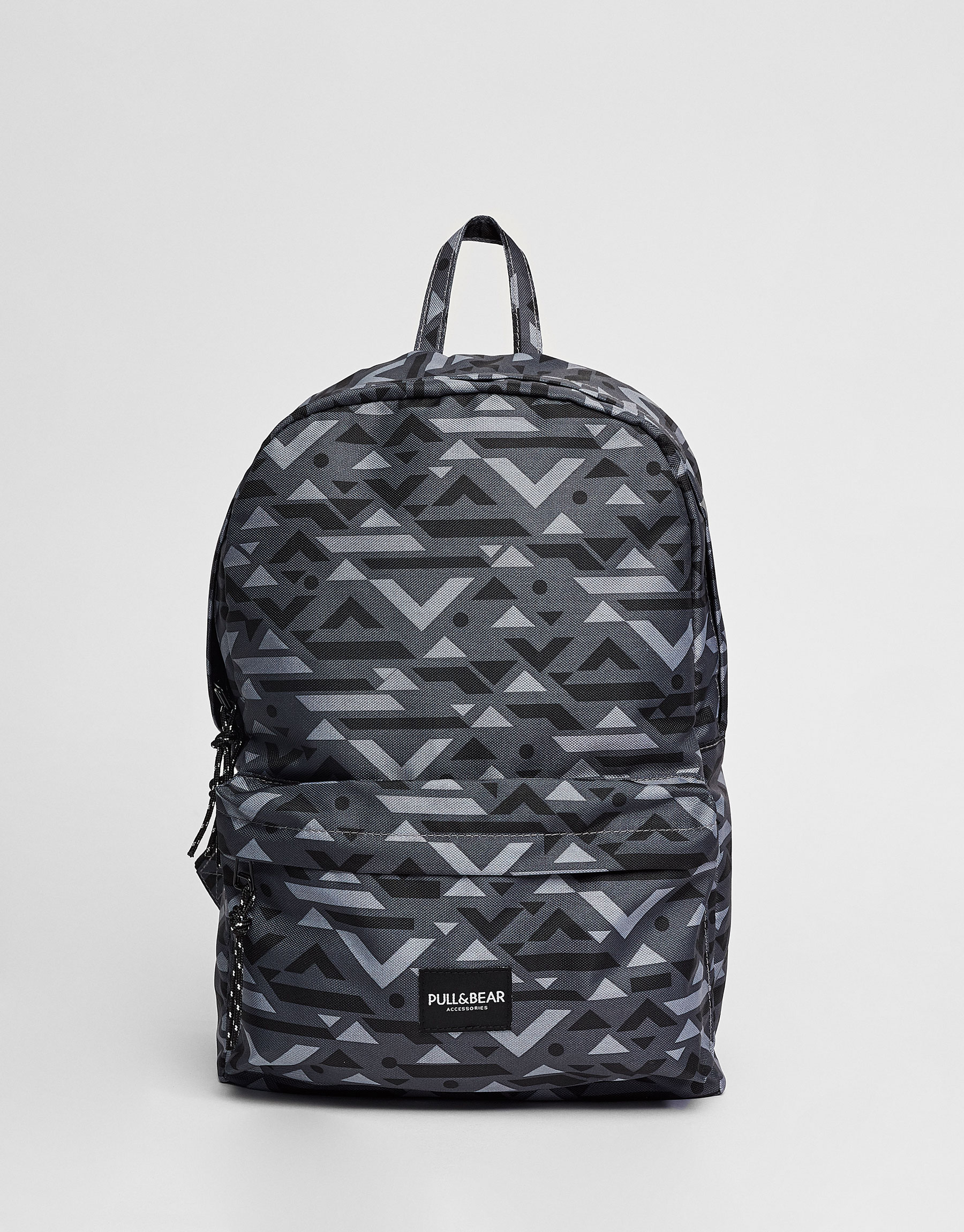 Geometric print backpack with logo label