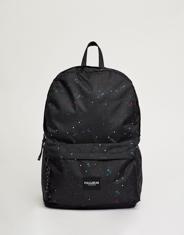Multi-print backpack with logo label