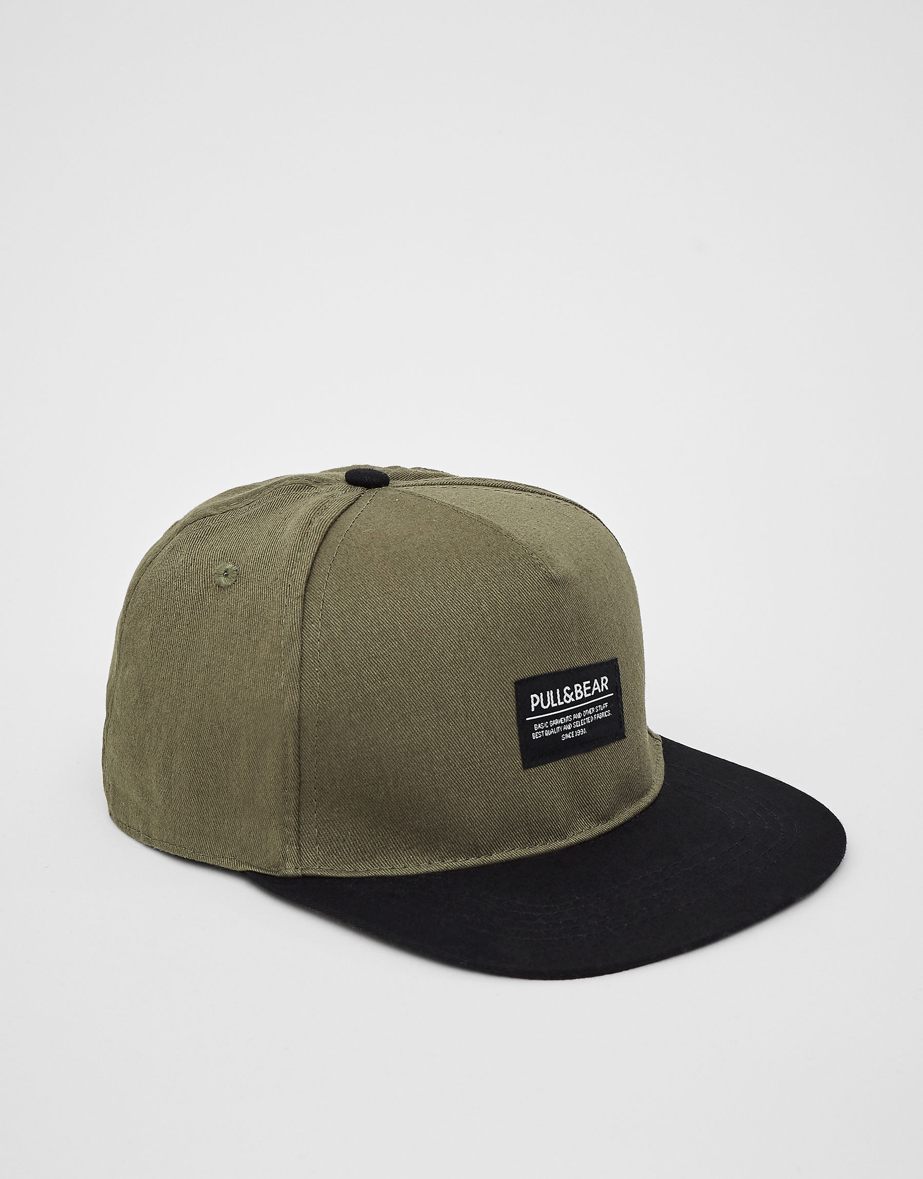 Khaki cap with black visor