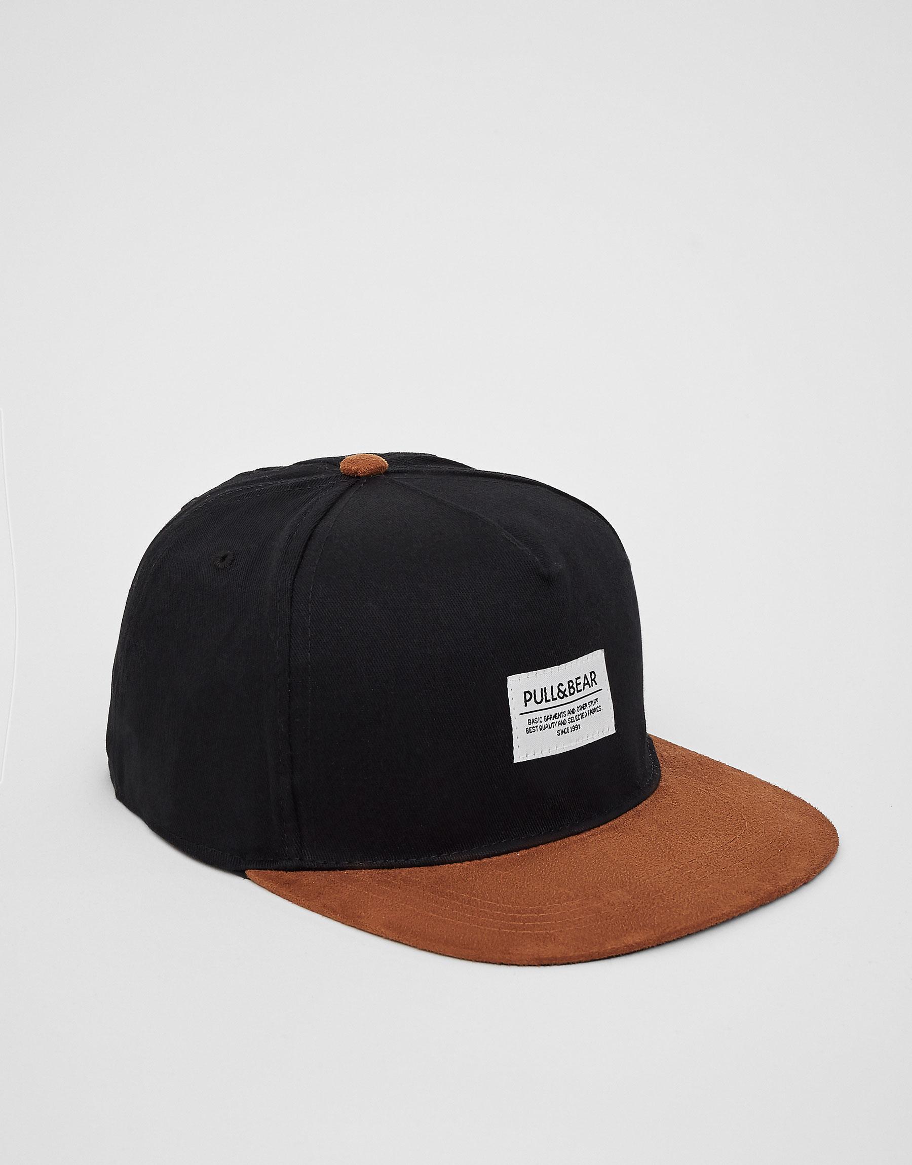 Gorra negra visera marrón