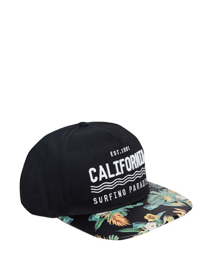 California cap with visor floral print