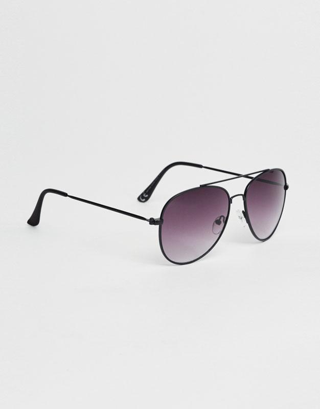 Aviator-style sunglasses.