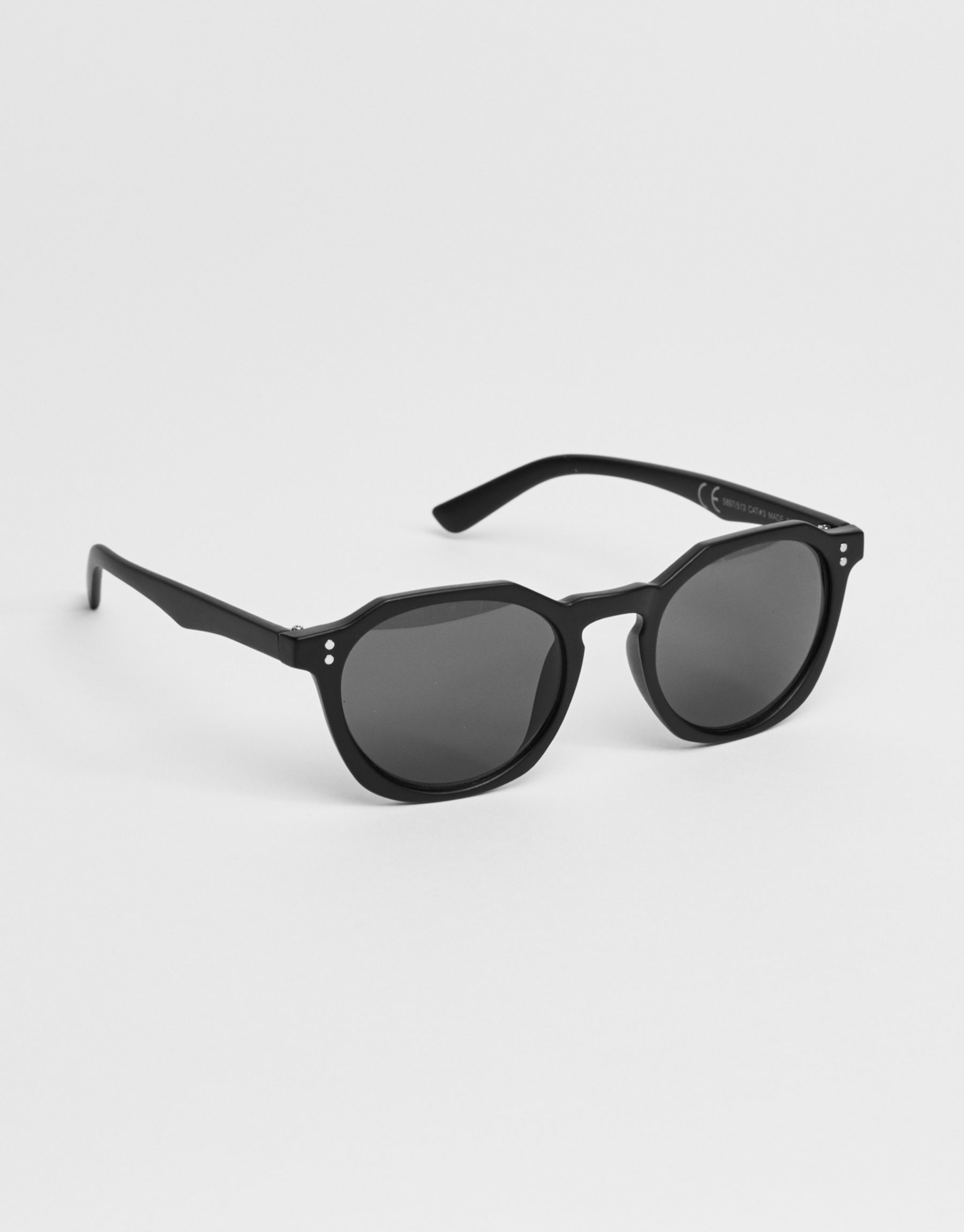 Polygonal black frame sunglasses