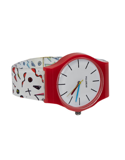 Watch with printed strap