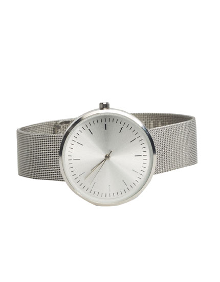 Silver-toned minimal watch