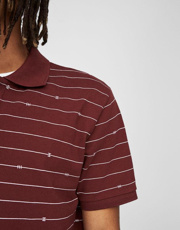Burgundy striped polo shirt