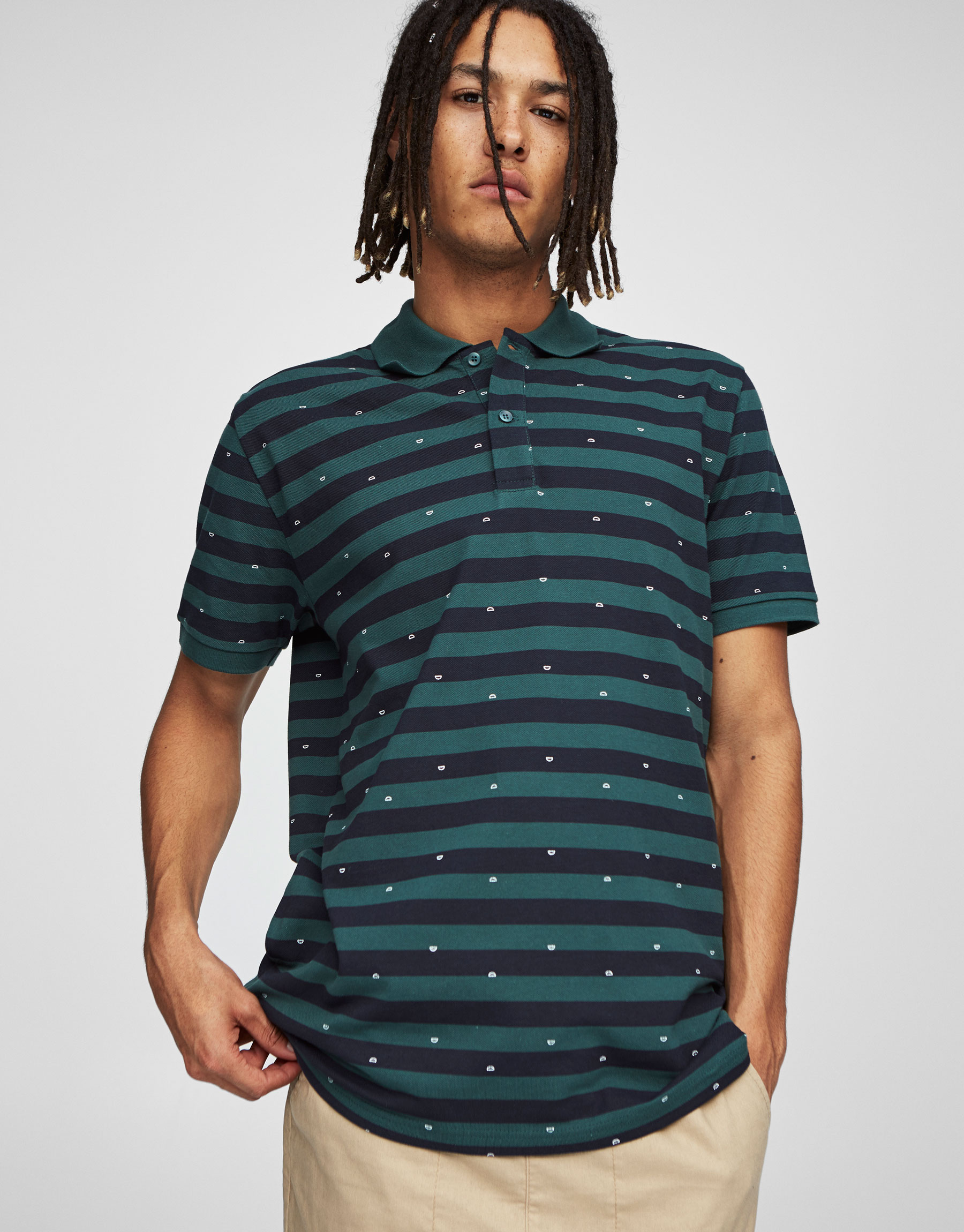 Striped and cloud print polo shirt