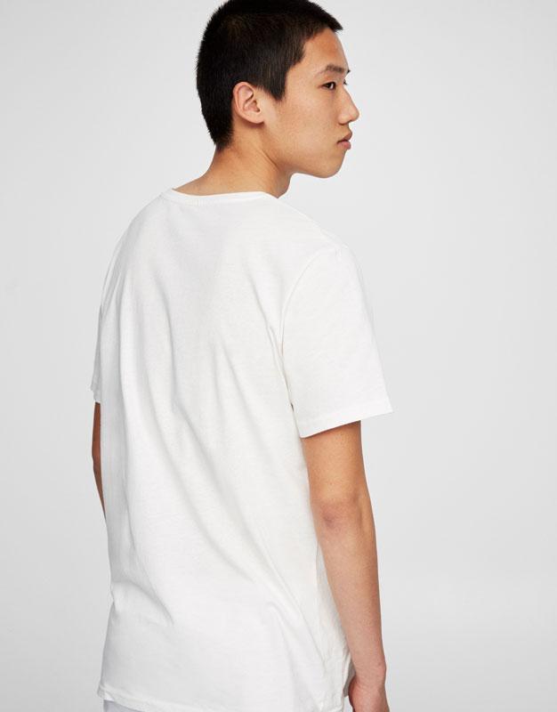 Photo print round neck T-shirt