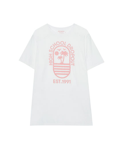 T-shirt with palm tree print on the front