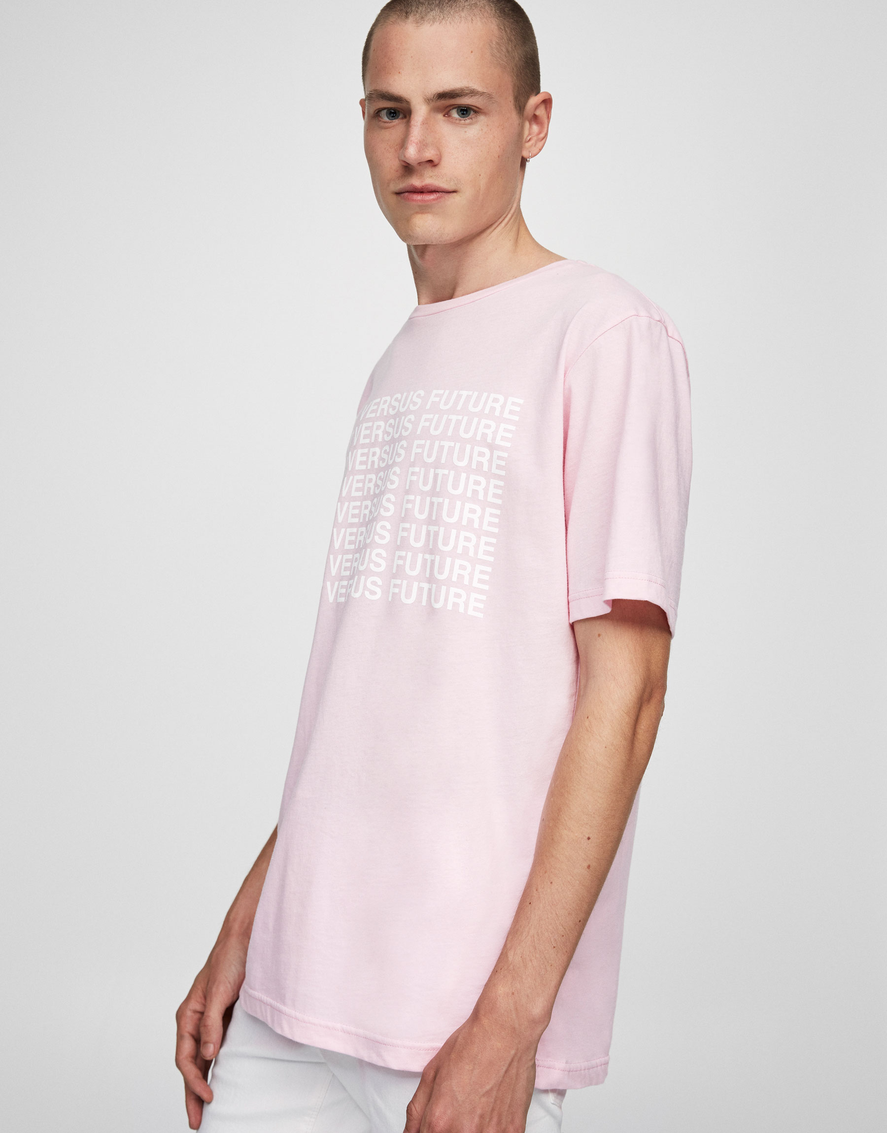 Pink T-shirt with printed slogan
