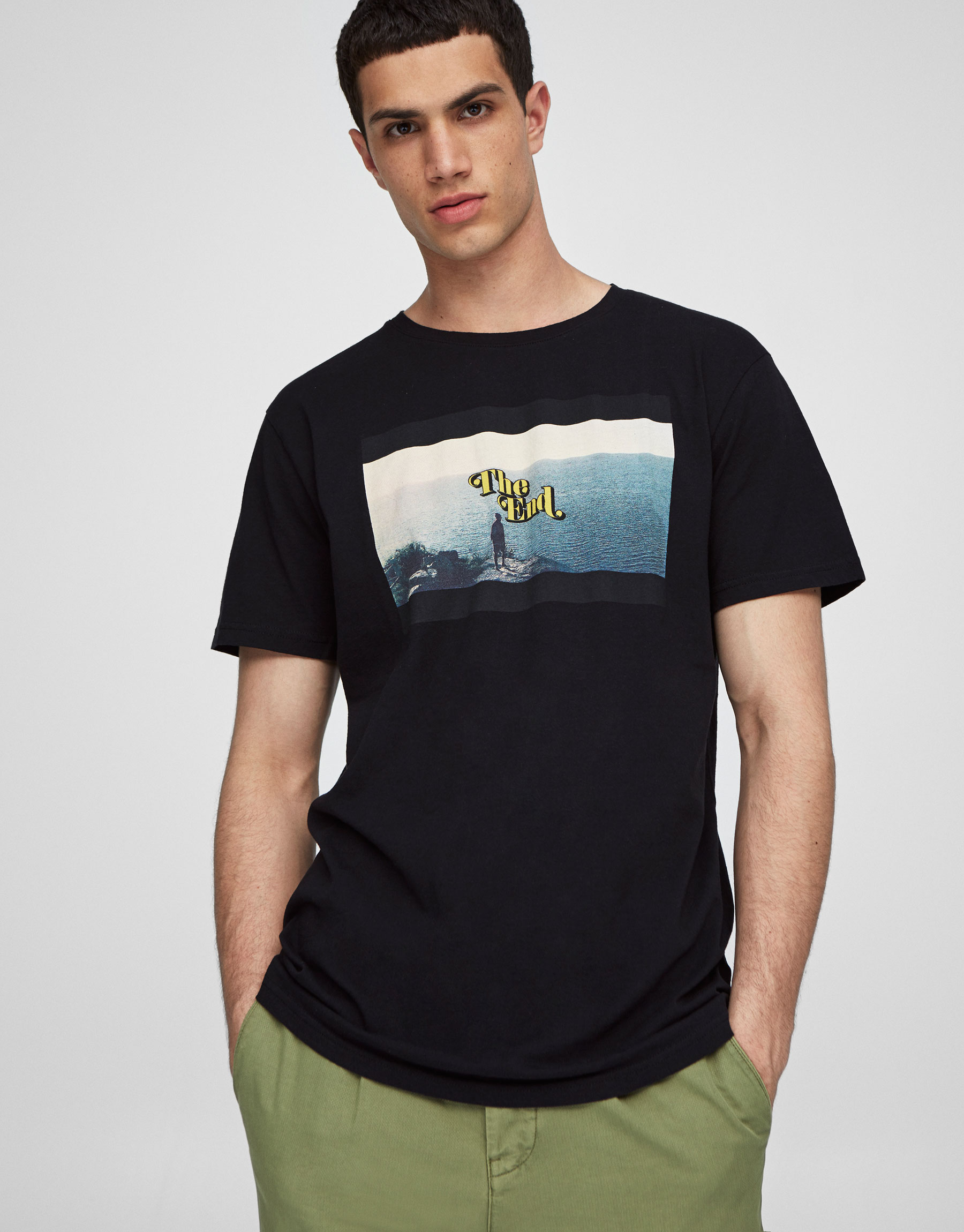 Photo print round neck T-shirt