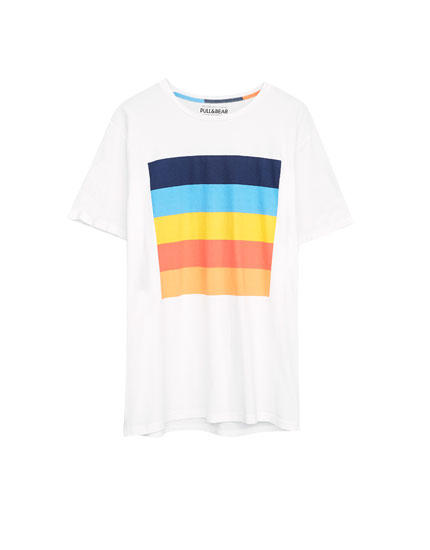 T-shirt with multicoloured print on the front