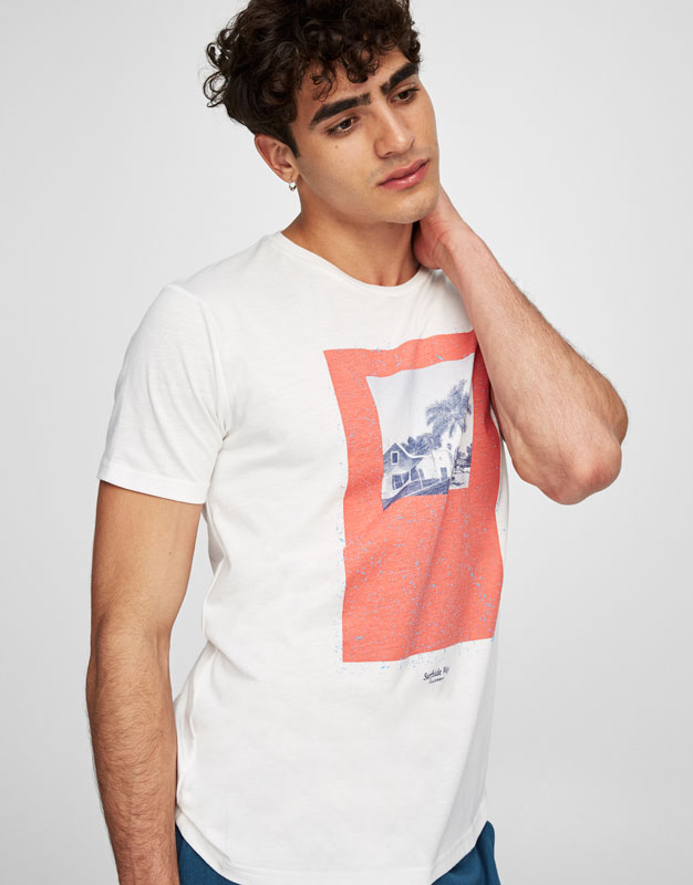 Tropical print round neck T-shirt